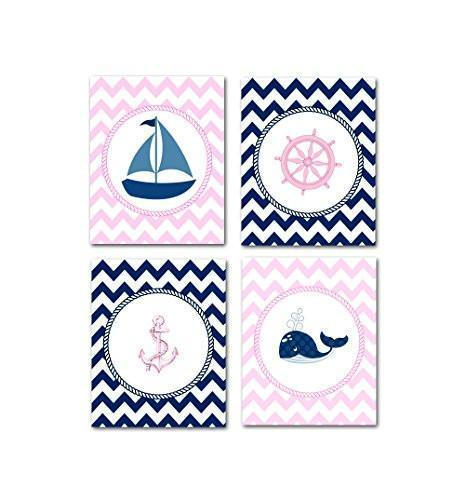 The Chevron Nautical Collection - Set of 4 - Unframed Prints-B01CRT8ZT4