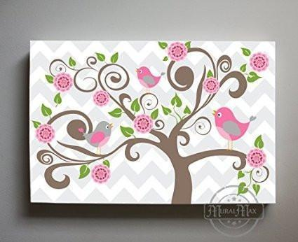 The Nursery Tree & Birdies Theme - Large Panoramic Canvas Wall Art-B018ISK5YG