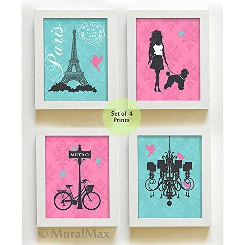 The Paris Collection - Set of 4 - Unframed Prints-B01CRMI4DI