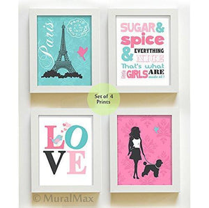 The Sugar & Spice Paris Collection - Set of 4 - Unframed Prints-B01CRMIGJK-MuralMax Interiors