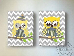 Toddler Boy Room Decor - Yellow and Gray Owl Wall Decor - Chevron Canvas Art - Set of 2-MuralMax Interiors