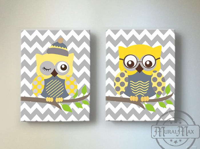 Toddler Boy Room Decor - Yellow and Gray Owl Wall Decor - Chevron Canvas Art - Set of 2