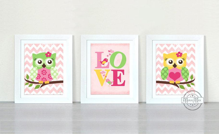 Toddler Girl Or Nursery Decor - Owl & Love Art Prints - Chevron Unframed Prints- Set of 3