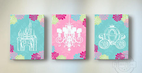 Toddler Girl Room Decor - Princess Nursery Decor - Castle Chandelier Pumpkin Carriage Canvas Art- Set of 3-MuralMax Interiors