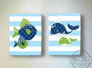 Under The Sea Nautical Fish and Whale Nursery Art - Canvas Nursery Wall Decor - Set of 2-Green Navy Decor-MuralMax Interiors