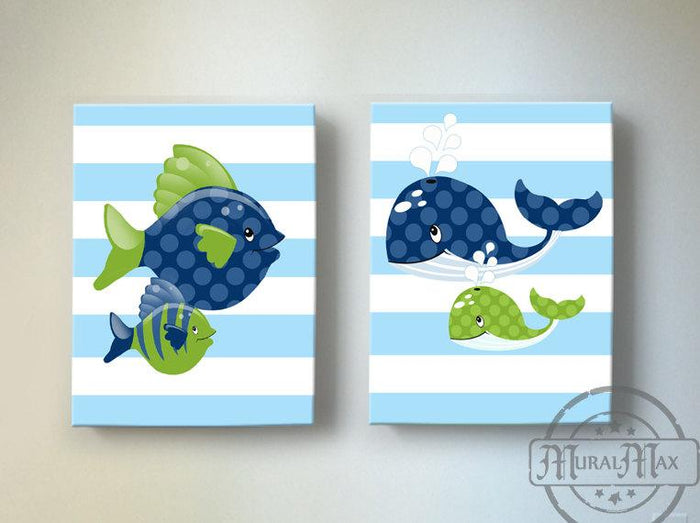 Under The Sea Nautical Fish and Whale Nursery Art - Canvas Nursery Wall Decor - Set of 2-Green Navy Decor