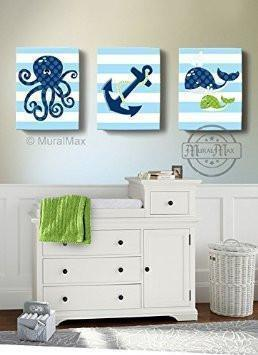 Under the Sea Nursery Art -Whale Octopus Sealife Nautical Wall Art - Canvas Nursery Wall Decor - Set of 3