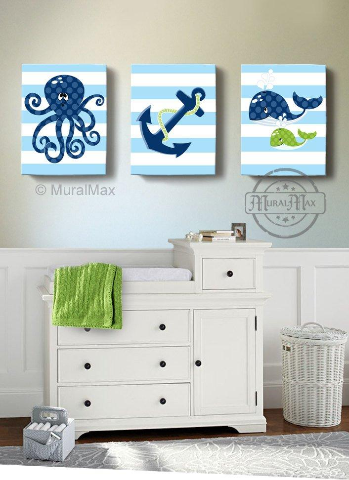 Under the Sea Nursery Art -Whale Octopus Sealife Nautical Wall Art - Canvas Nursery Wall Decor - Set of 3-MuralMax Interiors