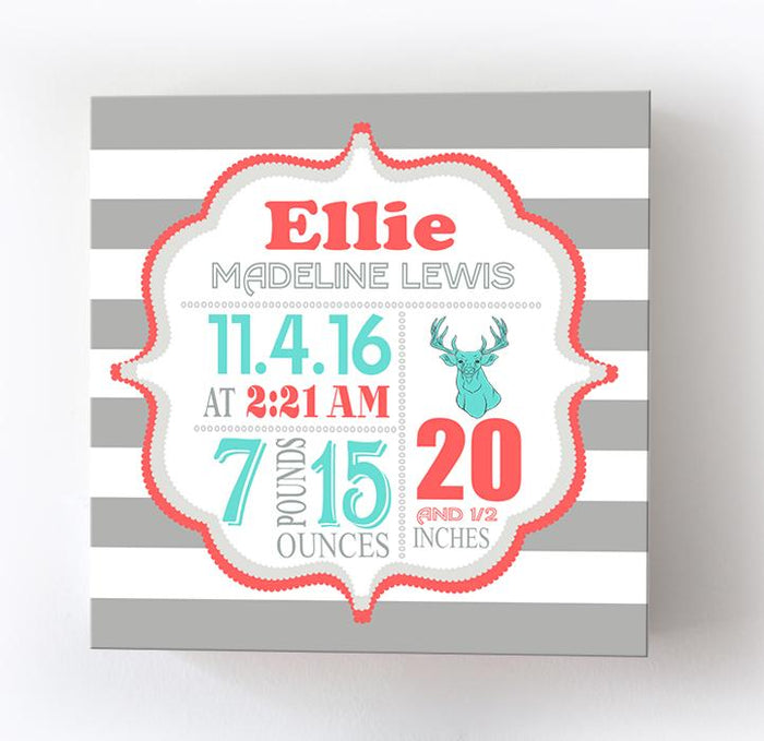 Unique Baby Gift Birth Arrival For Girls - Deer Woodland Nursery Decor - Birth Announcement Canvas Art