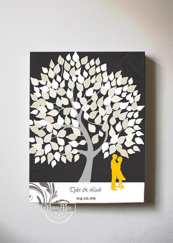 Unique Guest Book Alternative - Personalized Wedding Guestbook Tree Canvas Art - Charcoal-MuralMax Interiors