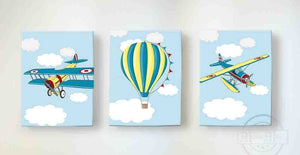Vintage Airplane and Hot Air Balloon Nursery Decor - Boys Room Canvas Nursery Wall Art - Set of 3-MuralMax Interiors