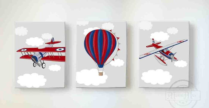 Vintage Airplane and Hot Air Balloon Nursery Decor - Boys Room Canvas Nursery Wall Art - Set of 3
