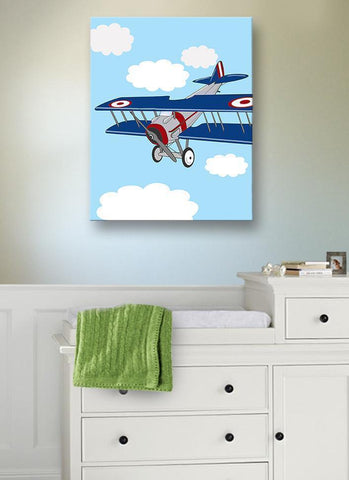 Vintage Airplane Boy Room Decor - Biplane Canvas Art - The Aviation Collection