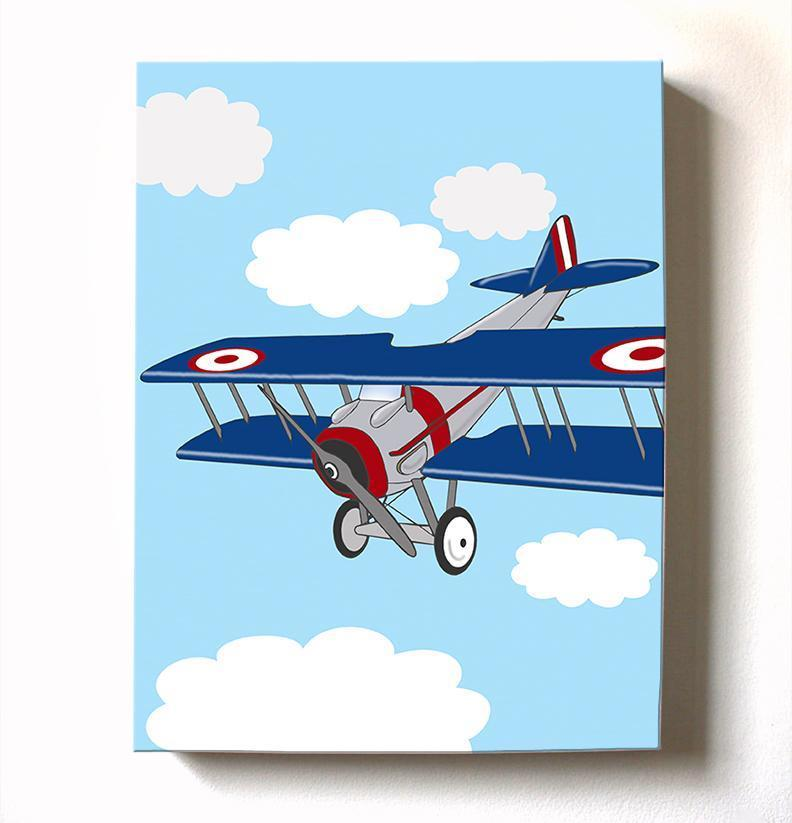 Vintage Airplane Boy Room Decor - Biplane Canvas Art - The Aviation Collection-B018ISHH92-MuralMax Interiors