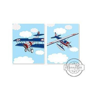 Vintage Airplane Nursery Theme - Unframed Prints - Set of 2-B018KOCP8W-MuralMax Interiors