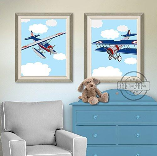 Vintage Airplane Nursery Theme - Unframed Prints - Set of 2-B018KOCP8W