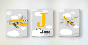 Vintage Airplanes Nursery Decor - Personalized Canvas Nursery Wall Art - Set of 3-B018ISGTNW-MuralMax Interiors