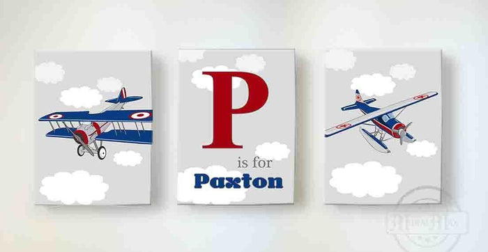 Vintage Airplanes Nursery Decor - Personalized Canvas Nursery Wall Art - Set of 3-B018ISGTNW