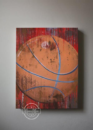 Vintage Basketball Boy Room Canvas Wall Art - The Canvas Sporting Event Collection-MuralMax Interiors