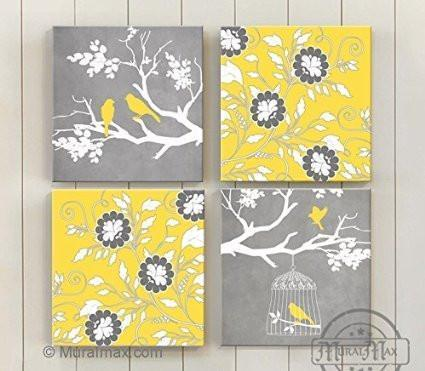 Vintage Birdcage & Branches Of Flowers, Stretched Canvas Wall Art, Memorable Anniversary Gifts, Unique Wall Decor, Color, Yellow - 30-DAY - Set Of 4-B018KOC2Y4-MuralMax Interiors