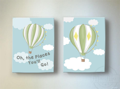 Vintage Hot Air Balloon Nursery Art - Adventure Inspirational Nursery Decor - Dr Seuss Nursery - Set of 2Baby ProductMuralMax Interiors