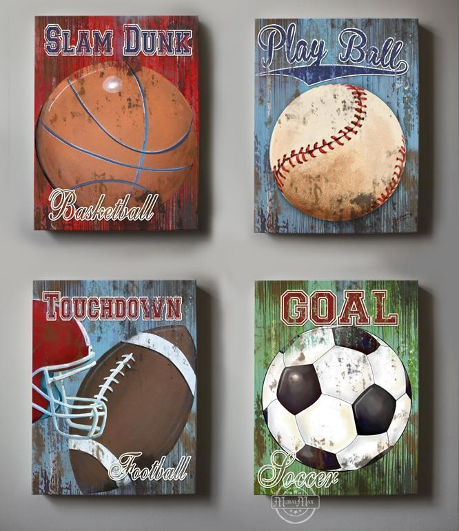 Vintage Sports Wall Decor -Baseball - Football - Basketball & Soccer - Canvas Wall Art