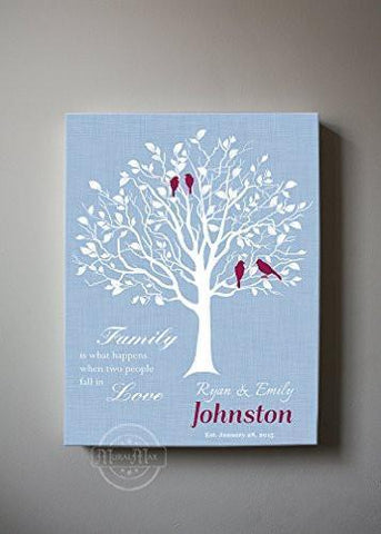 Wedding Anniversary Gift - Custom Family Tree Canvas Wall Art - Unique Wall Decor_ Powder Blue-MuralMax Interiors