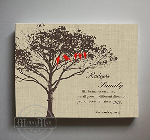Wedding Anniversary Gift for Parents - Personalized Family Tree Canvas Wall Art - Tan - B01M11T4TV
