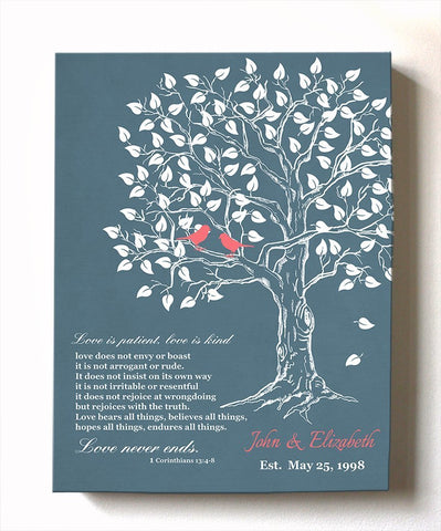 Wedding & Anniversary Gift - Personalized Family Tree & Lovebirds Canvas Wall Art, Unique Wall Decor, Choose Your Color - Navy # 2 - B01HWLKOLO-MuralMax Interiors