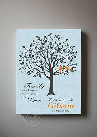 Wedding Gift Custom Family Tree When Two People Fall In Love Stretched Canvas Wall Art - Powder Blue-MuralMax Interiors