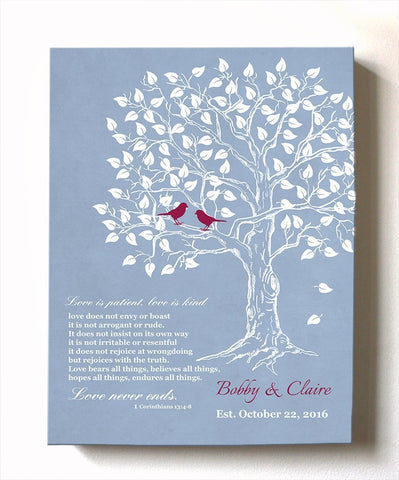 Wedding Gift for Couples, Gift for Her Her Personalized Family Tree Canvas Art - Anniversary Gift, Engagement Newlywed Love Birds - Powder BlueHomeMuralMax Interiors