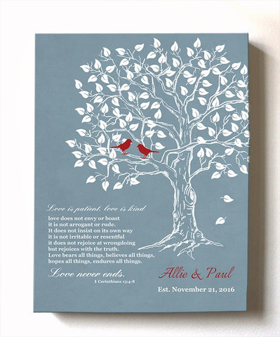 Wedding Gift for Couples, Gift for Her Him Personalized Anniversary Gift, Engagement Newlywed Love Birds Wedding Family Tree, Blue # 4 - B01HWLKOLOHomeMuralMax Interiors