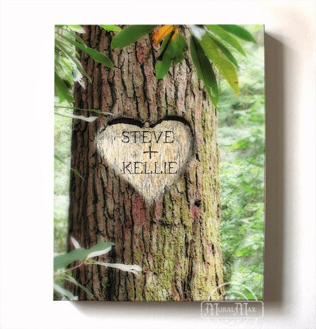 Wedding Gift - Personalized Carved Heart in Tree with Names - Canvas Anniversary Wall DecorHomeMuralMax Interiors