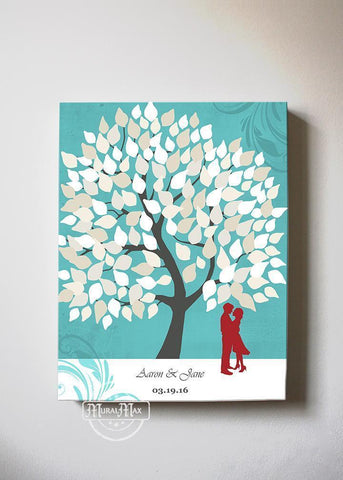 Wedding Guest Book Personalized Family Tree & Lovebirds Canvas Wall Art - Memorable Wedding Gifts-Turquoise-MuralMax Interiors