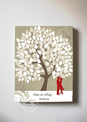 Wedding Guestbook Alternative Family Tree Canvas Wall Art, Make Your Wedding & Anniversary Gifts Memorable, Unique Wall Decor - Tan # 1 - B01LZ45D4T-MuralMax Interiors