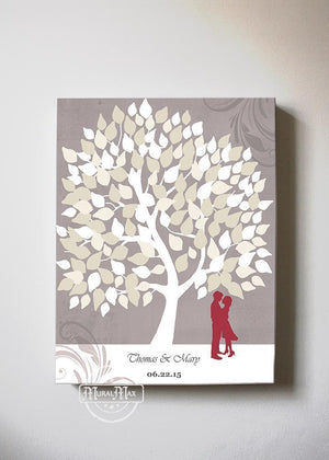 Wedding Guestbook Family Tree & Lovebirds, Stretched Canvas Wall Art, Make Your Wedding Gifts Memorable, Unique Wall Decor- TaupeHomeMuralMax Interiors