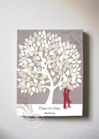 Wedding Guestbook Family Tree & Lovebirds, Stretched Canvas Wall Art, Make Your Wedding Gifts Memorable, Unique Wall Decor- Taupe - B01LZ45D4T-MuralMax Interiors