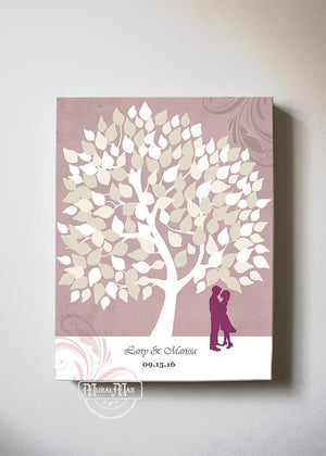 Wedding Tree Guest Book Alternative Canvas Print - Personalized Family Tree Wall Art - Make Your Wedding Gifts Memorable - PinkHomeMuralMax Interiors