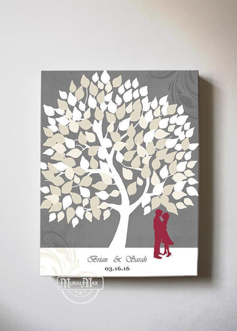 Wedding Tree Guest Book - Personalized Family Tree Canvas Art - Unique Wall Decor - Gray-MuralMax Interiors