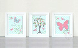 Whimsical Butterflies & Tree Collection - Set of 3 - Unframed Prints-B01CRT88FA-MuralMax Interiors