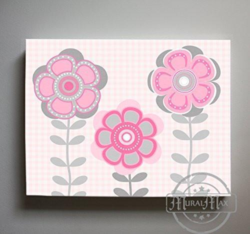 Whimsical - Daisy Floral Nursery Decor - The Canvas Flower Bed & Bath Collection-B0190176F6-MuralMax Interiors