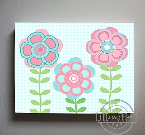 Whimsical - Daisy Floral Nursery Decor - The Canvas Flower Bed & Bath Collection-B01901795I-MuralMax Interiors
