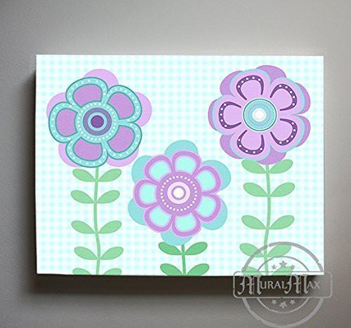 Whimsical - Daisy Floral Nursery Decor - The Canvas Flower Bed & Bath Collection-B019017BUG