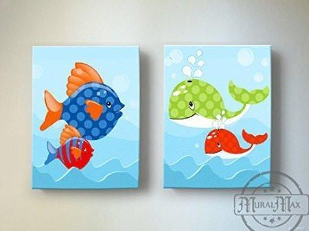Whimsical Fish & Whale Ocean Theme - Canvas Decor - Set of 2-B018ISH3XW
