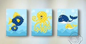 Whimsical Fish - Whales & OctopUSD Theme - Canvas Nursery Decor - Set of 3-B018ISLBYY-MuralMax Interiors