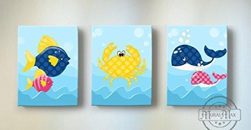 Whimsical Fish & Whales Theme - Canvas Nursery Decor - Set of 3-B018ISLNE2