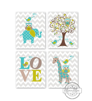 Whimsical Giraffe Elephant Love & Tree Prints - Set of 4 - Unframed Prints-Aqua Tan Nursery Decor-MuralMax Interiors