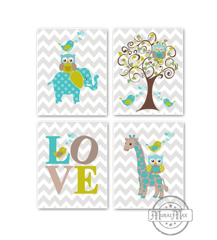 Whimsical Giraffe Elephant Love & Tree Prints - Set of 4 - Unframed Prints-Aqua Tan Nursery Decor