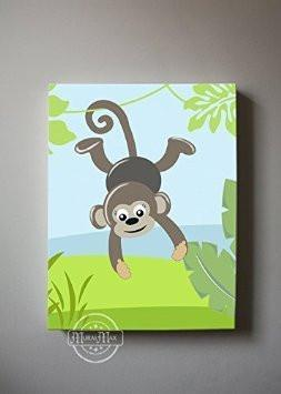 Whimsical Monkey Safari Theme - Canvas Dcor-B018ISMHHO