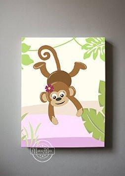 Whimsical Monkey Safari Theme - Canvas Decor-B018ISM39G